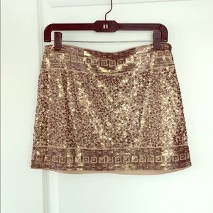 Express Mini Skirt with Gold Sequins